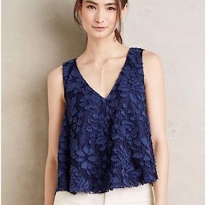 Anthro Maeve blue floral lace cropped swing tank